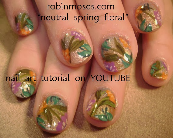 Nail Art By Robin Moses Fall Leaves Nails FALL NAIL ART Flower Simple Easy How To Paint