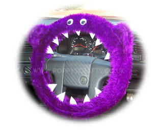 Purple Monster fuzzy steering wheel cover