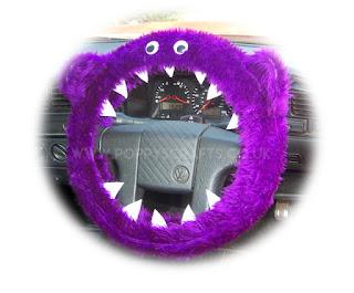 Purple Monster fuzzy steering wheel cover