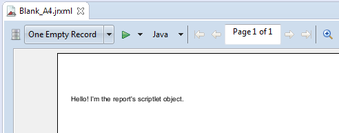 Scriptlet Example in Jaspersoft 6 x for begineers - Hello