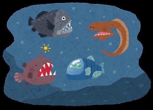 深海と深海魚のイラスト