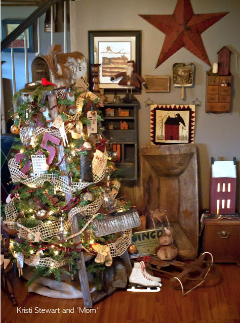 christmas ladder tree by kristi stewart and her mom featured on funky junk interiors - Christmas Tree Ladder Decoration