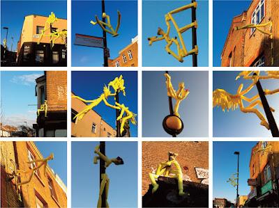 Jane's London: Yellow foam people – street art in Hornsey ... Hornsey