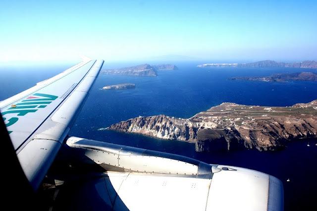 Tempo de avião até Santorini