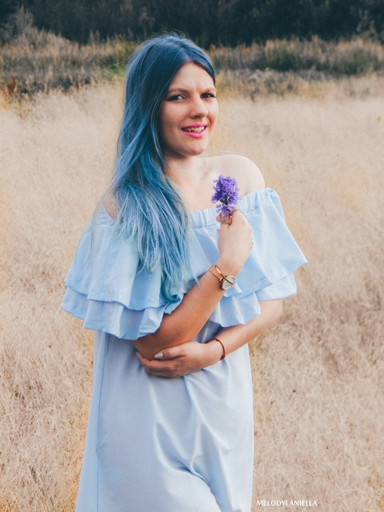 2 daniel wellington ootd lookbook fashion blogger modowe blogerki z łodzi melodylaniella blue hair niebieskie włosy baby blue hiszpanka venita błękitna sukienka stylizacja outfit modna polka pastel hair