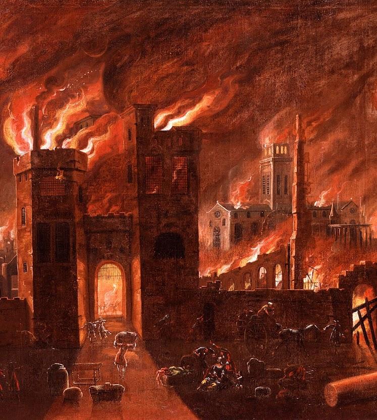 O grande incêndio de Londres, 2 a 5 de setembro de 1666, Museum of London.