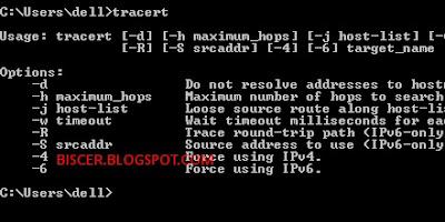 perintah tracert pada Command Prompt