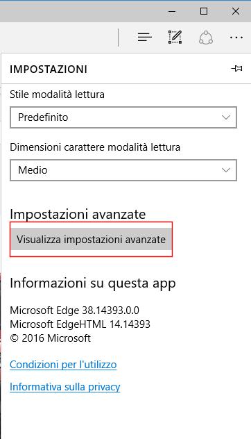 Microsoft Edge, Visualizza impostazioni avanzate
