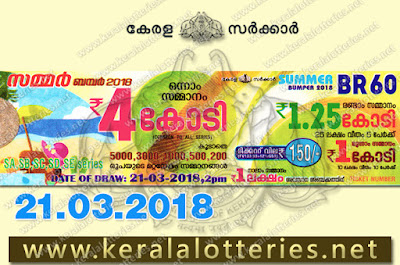 Kerala Lottery Results 21-Mar-2018 Summer Bumper BR-60 Lottery Result keralalotteries.net
