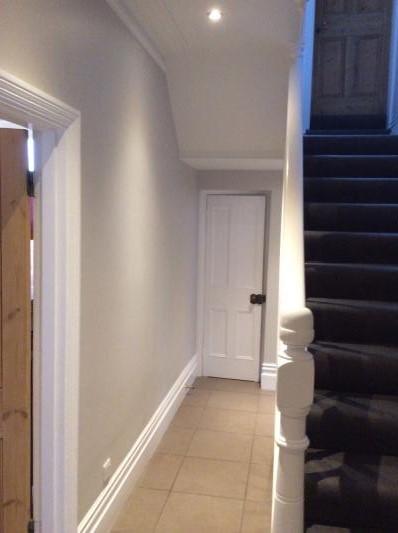 Farrow and Ball Cornforth white hallway
