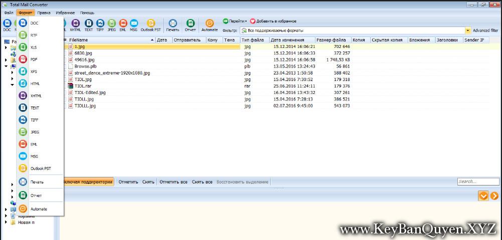 Coolutils Total Mail Converter 5.1.180 Full Key, Phần mềm Chuyển đổi MSG hoặc EML sang PDF, PDF / A, DOC, XLS, XPS, HTML, XHTML, TXT, TIFF, EML, MSG, PST