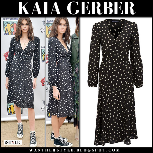 Kaia Gerber in black polka dot dress and black sneakers converse model style may 13