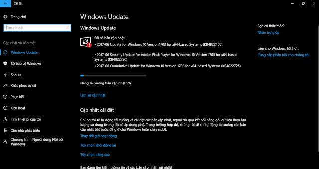 Cập nhật 13 tháng 6, 2017 - KB4022725 cho Windows 10 Phiên bản 1703 (OS Build 15063.413 và 15063.414)