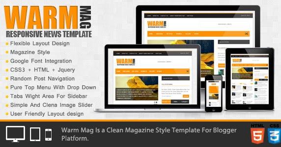 WarmMag - Premium Responsive Blogger Template Free download