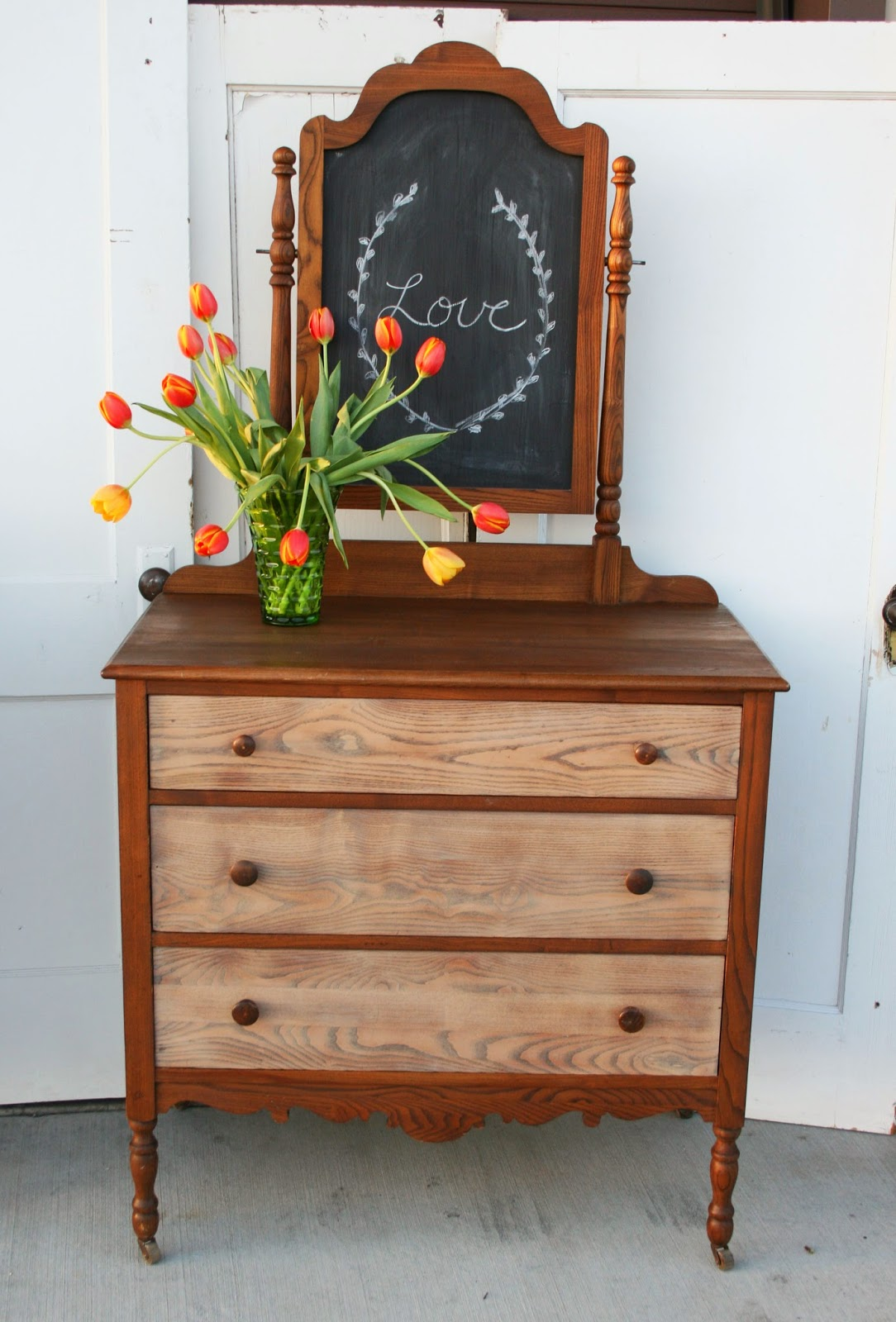 Antique Recreation Two Toned Stained Dresser With Mirror