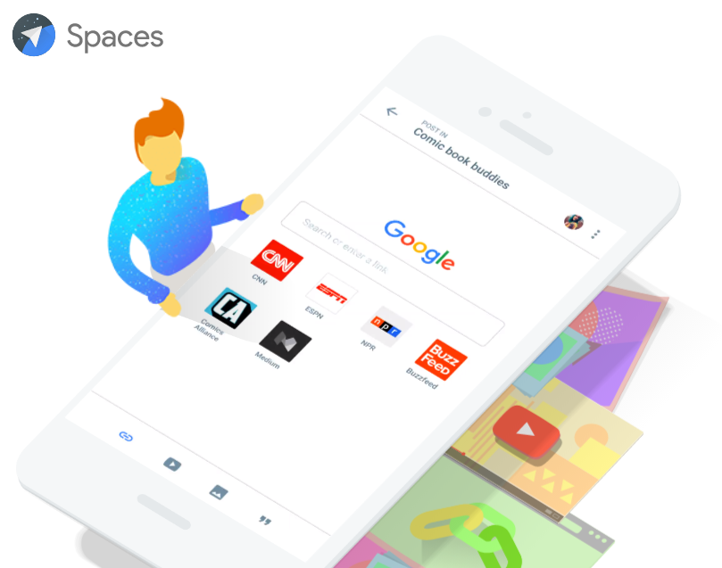 Spaces, la nuova App social di Google integra Ricerca, Chrome, Foto e YouTube HTNovo