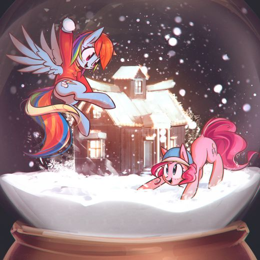 snowball fight by mirrored sea