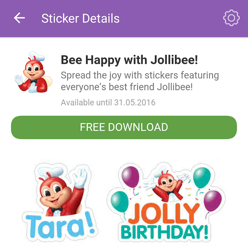 Jolibee Outs Stickers For Viber!