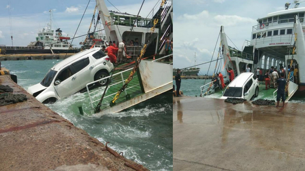LOOK: SUV falls off a Ro-Ro