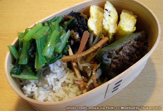 初、秋田杉曲げわっぱ~ピーマン肉詰め、卵焼き、小松菜のおひたし