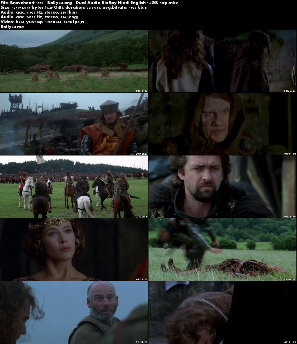 Braveheart 1995 BluRay 550MB Hindi Dubbed Dual Audio 480p Download