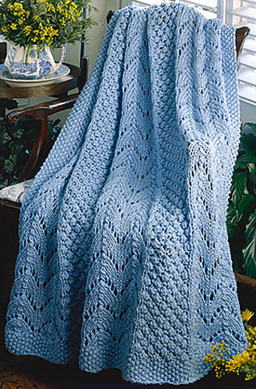 Fan Knit Afghan - Free Pattern