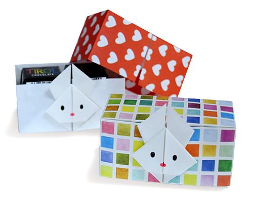 Hướng dẫn cách gấp, xếp hộp giấy có nắp hình con thỏ dễ thương