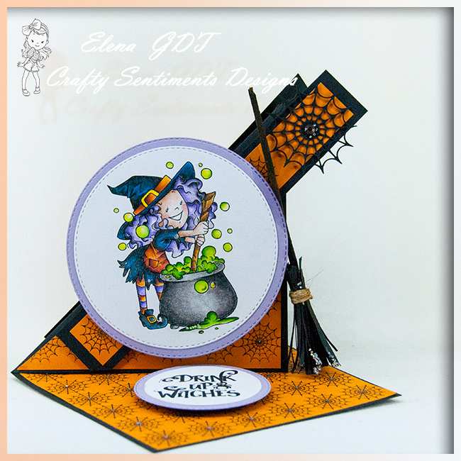 Twisted easel card wth Witchy Stew for Happy Halloween