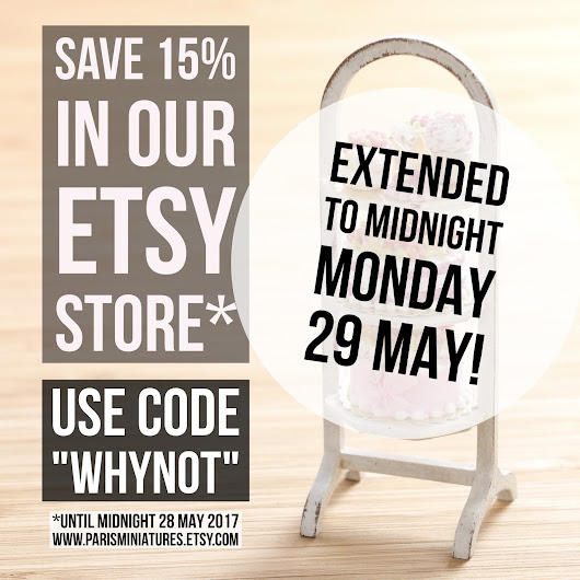 15% Etsy discount extended to midnight 29 May 2017!