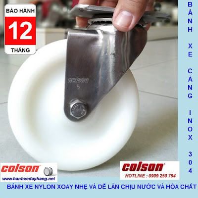 Bánh xe xoay 360 Nylon càng inox 304 Colson Mỹ 5 inch| 2-5456-254 www.banhxepu.net