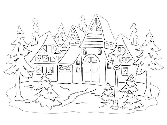 Gambar Mewarnai Pemandangan Musim Dingin - 4