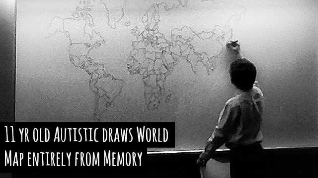 11 year old boy with autism draws world map with incredible precision and detailing using his sole memory via geniushowto.blogspot.com autistic talents and videos