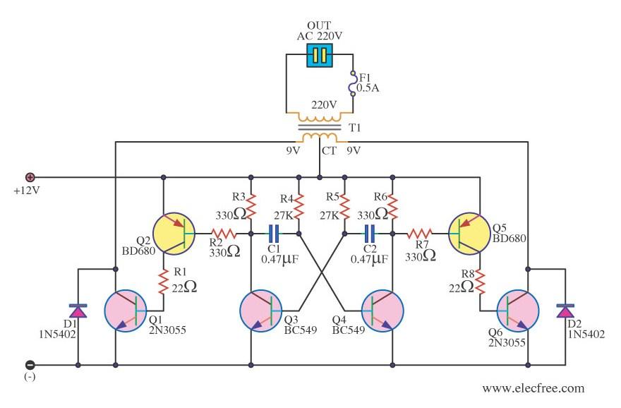 Simple 12V to 220V 180W Inverter Circuit Diagram Using 2N3055 - ELEXWARE