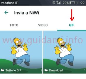 WhatsApp scheda GIF in memoria sul dispositivo