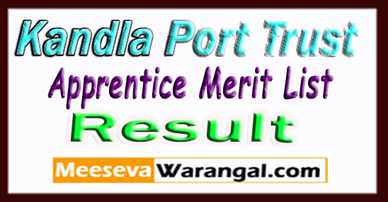 Kandla Port Trust Apprentice Merit List 2017 Technician, Electrician,Mechanic,Fitter Result