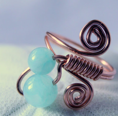 Kai (Ocean): copper & aquamarine jade, ring, wire wrapping :: All Pretty Things