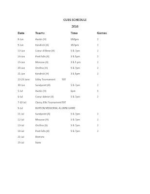 Cubs schedule