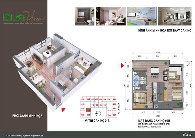 Mặt bằng thiết kế căn hộ 01B chung cư ECO LAKE VIEW