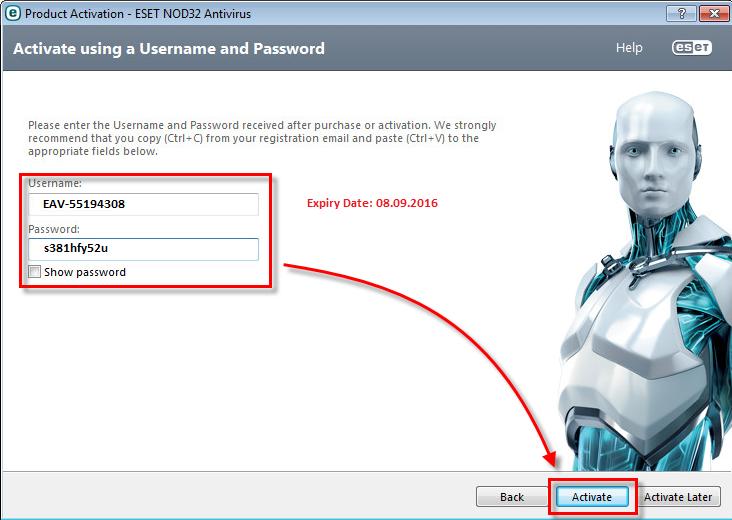 username and password for nod32 antivirus 5