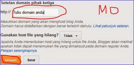 cara setting custom domain di blogspot