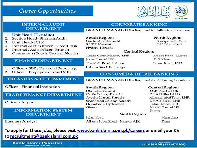 Jobs in Bank Islami Pakistan for Different Departments in Pakistan