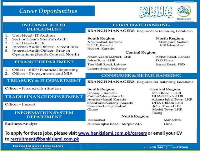 Jobs in Bank Islami Pakistan for Different Departments in Pakistan
