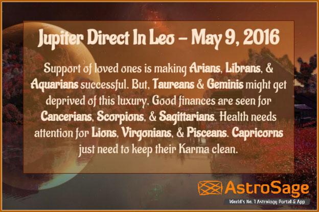 Jupiter is getting direct in Leo on Akshaya Tritiya in 2016