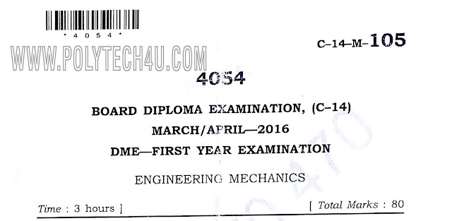 105 engineering mechanics previous question papers march/april-2016