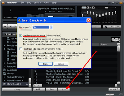 Cara Burn CD dengan Winamp