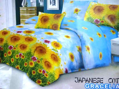 Sprei Katun Jepang Motif Bunga Matahari Biru