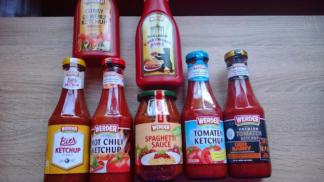 6 verschiedene Sorten Ketchup und 1 Spaghetti Sauce.