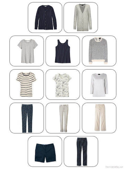 13-piece travel capsule wardrobe in navy, beige and cool grey