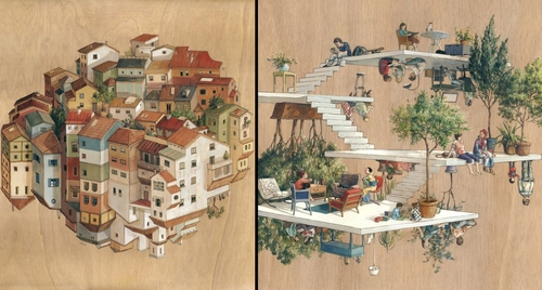 00-Cinta Vidal Agulló-Multi-directional-Surreal-Architecture-Drawings-and-Paintings-www-designstack-co