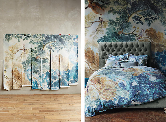 Brose nose maison wall paper murals by anthropologie for Anthropologie wall mural